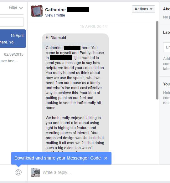 Client Message Via Facebook