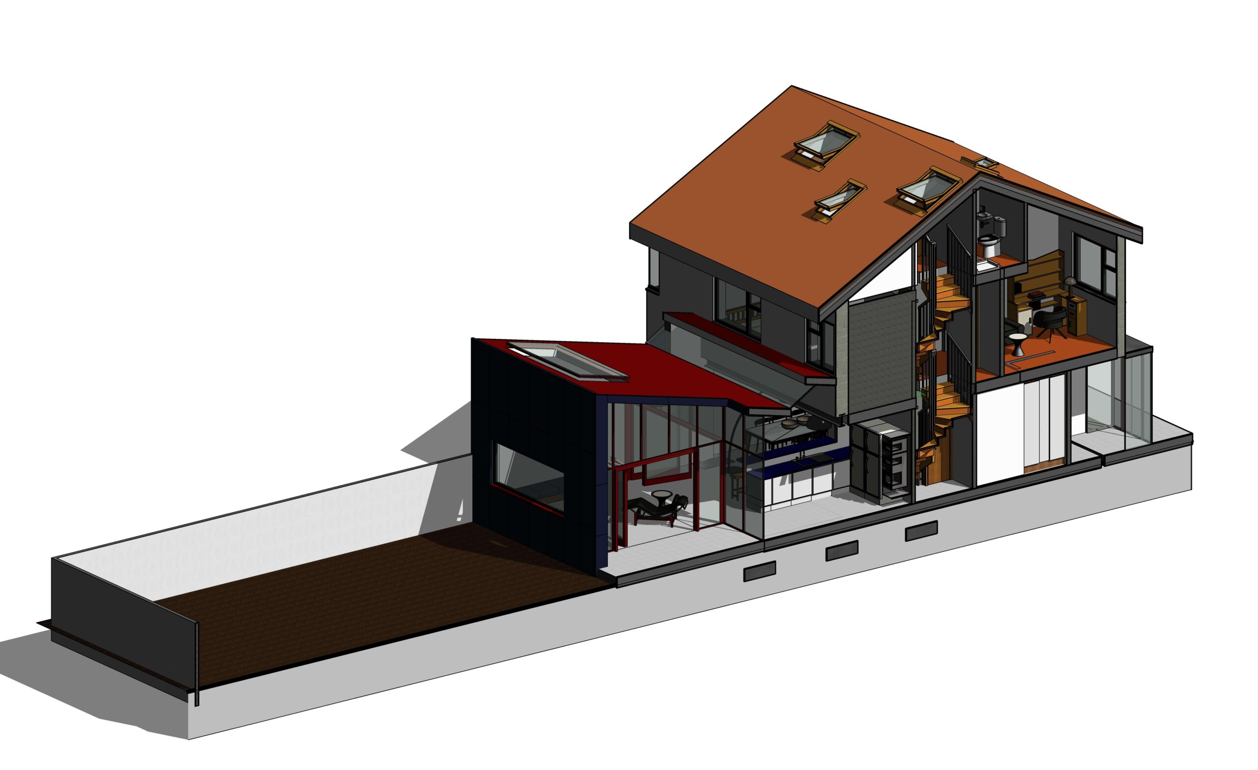Very happy with this new design for a semi-detached family home ...
