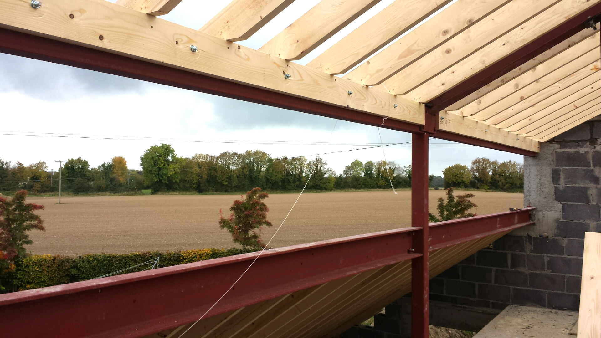 11m long Clerestory Window Overlooking Meath Countryside. Steelwork coming together. Not a bad view to wake up to!